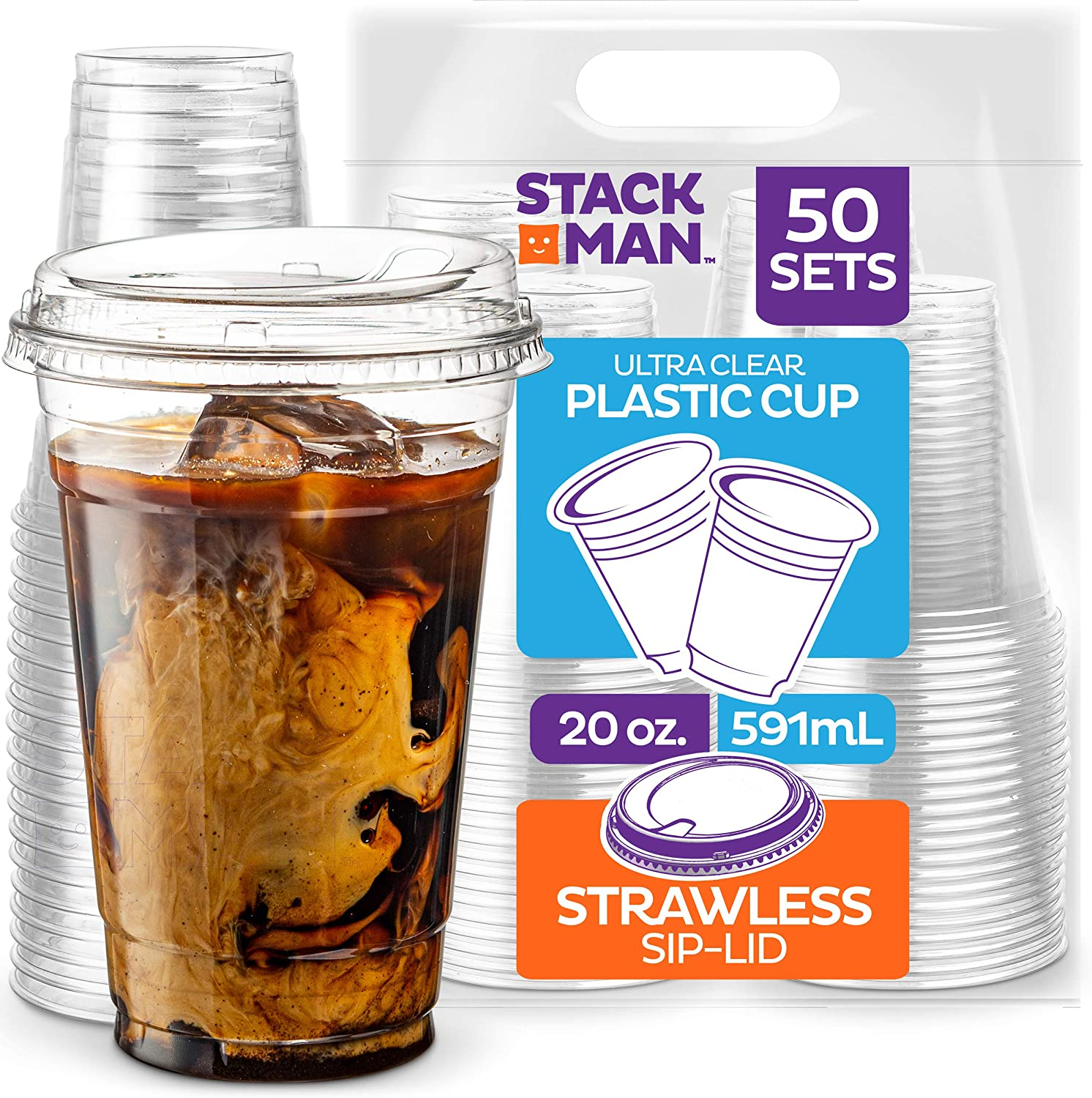 20 oz. Clear Cups with Strawless Sip-Lids, [50 Sets] PET Crystal Clear Disposable 20oz Plastic Cups with Lids