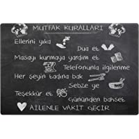 Decorita 10011509143 Kara Tahta Görünümlü Mutfak Kuralları Cam Ocak Arkası Koruyucusu, 40cm x 60cm