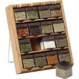 Kamenstein Bamboo Inspirations Spice Rack with Leaf Labels, 16-Cube