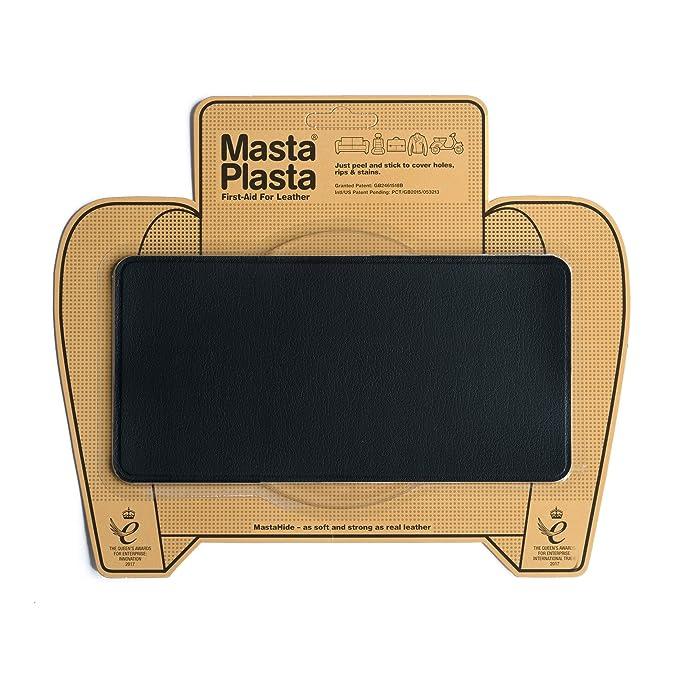 Reparador Cuero, Polipiel y Skai - Parches en Varios Colores - MastaPlasta - Rectangulo Grande (200x100mm) (Negro)
