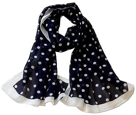 e05e2ed71f9fe Foulard étole femme pois noir - bleu marine - blanc (Bleu marine ...