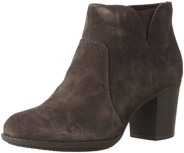 CLARKS Women's Enfield Senya Ankle Bootie B01N6LPC7Y 8.5 B(M) US|Dark Brown Suede