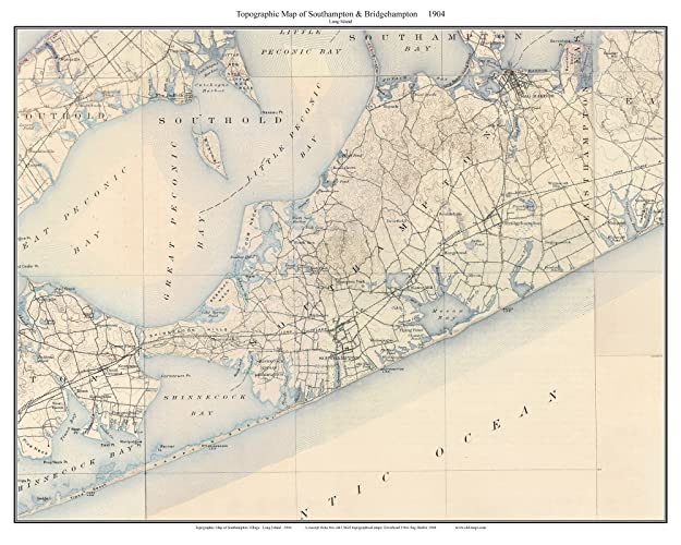 Topographic Map Long Island.Amazon Com Southampton To Bridgehampton 1904 Topo Map Long Island