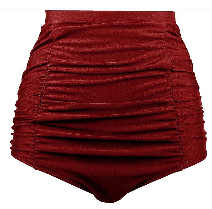 Angerella Mujeres Retro Alta Cintura Bikini Bottom Ruched Swim Short Tankinis