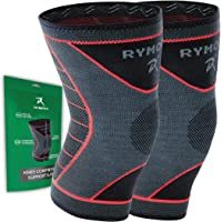 Rymora Knee Support Compression Sleeves for Men and Women (Pair) (Best choice of sizes: XS, S, M, L, XL, 2XL, 3XL)