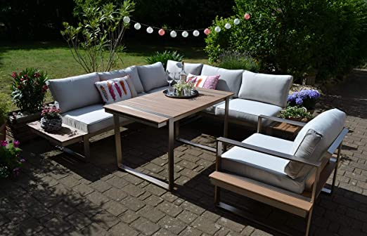 Bomey Dining Atlanta - Juego de sofá esquinero y sillón de esquina, color marrón, mesa en acero