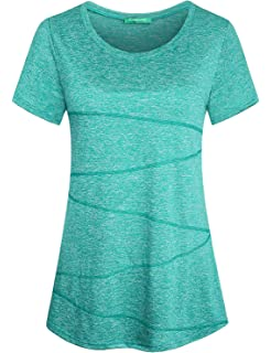 01e3c5992bc104 Nandashe Womens Short Sleeve Loose T-shirt for Yoga Running Workout  Activewear Petite