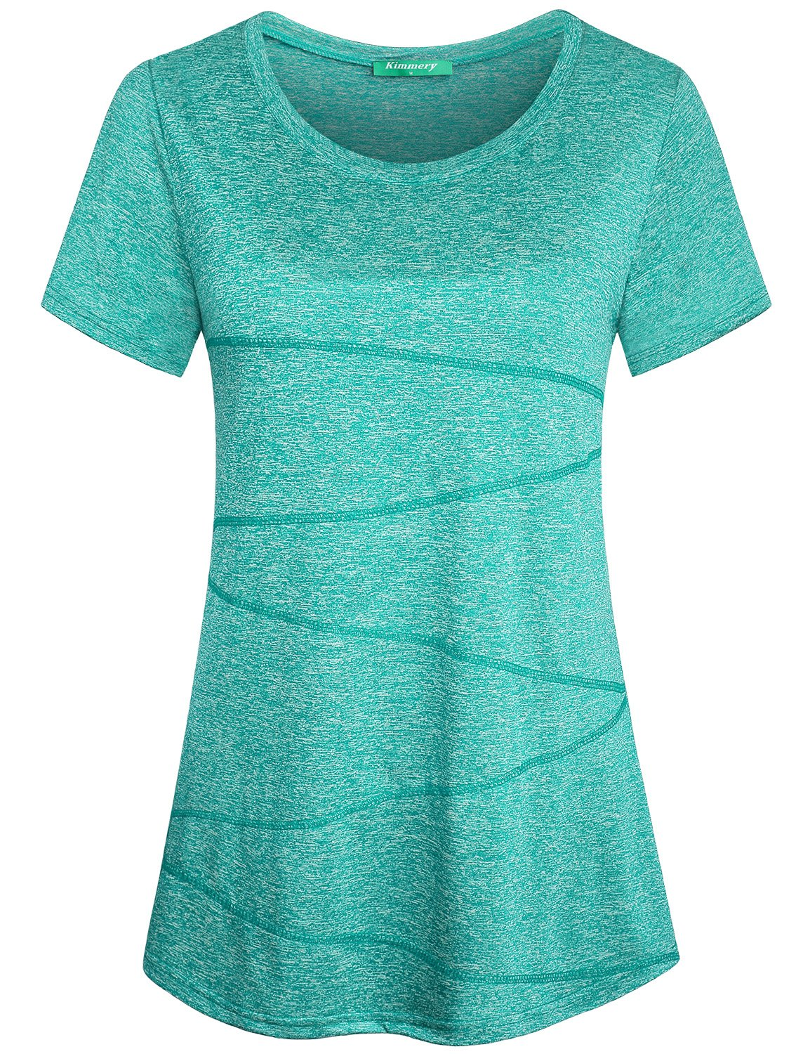 Kimmery Gym Shirts for Women Laides Casual Retro Style Jersey Yoga Tee Basic Daily Wear Short-Sleeved Tops Lightweight Comfortable Clothing Crew Neck Seamless Stitching Blouses Light Green Large