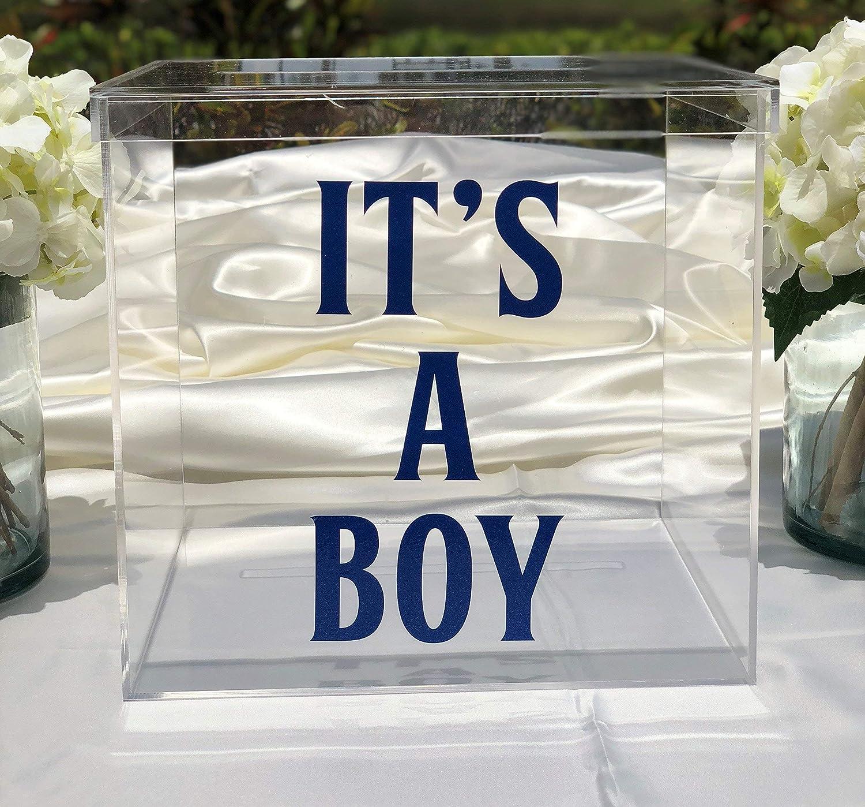 Blue Sparkle Its a Boy Acrylic Card Box