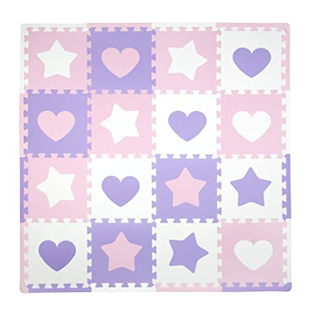 Tadpoles Soft EVA Foam 16pc Playmat Set, Hearts and Stars, Pink Purple White, 50×50