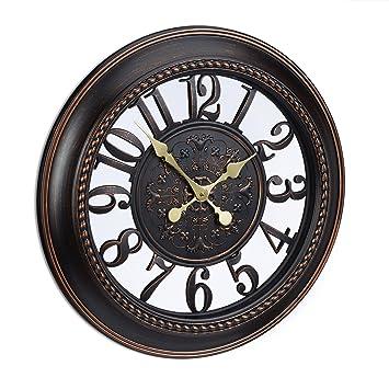 Relaxdays Reloj de Pared Vintage XXL, Plástico, Marrón, 56x56x6 cm: Amazon.es: Hogar