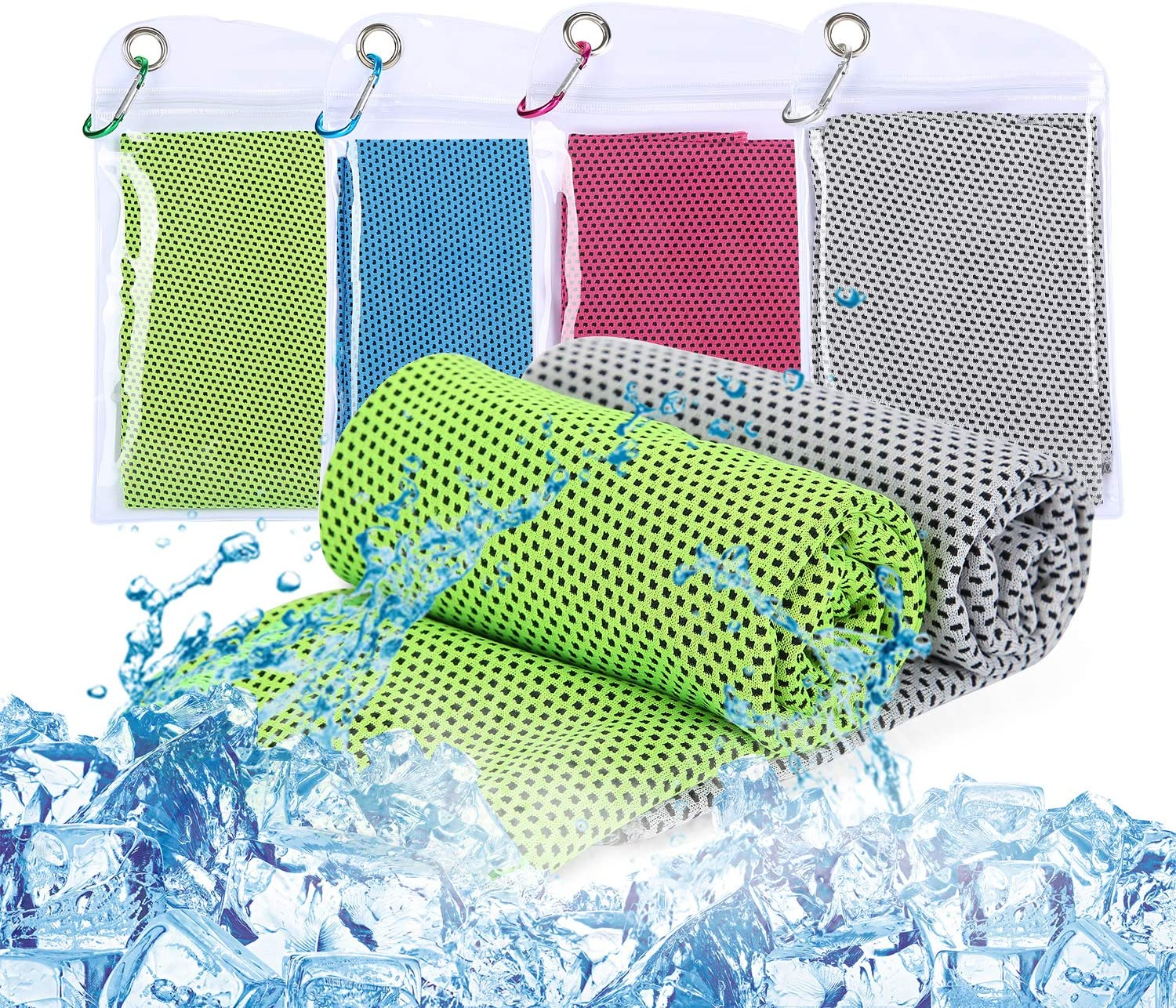 100 x 30 cm Gym Sports Cool Cold Towel Quick Dry Microfiber Cooling Towel or Sports Workout Fitness Gym Yoga Pilates Travel Camping Ulikey 4 Pack Cooling Towel
