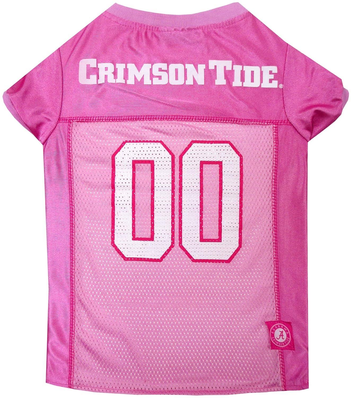 NCAA Alabama Crimson Tide Dog Pink Jersey, Large. Pet Pink Outfit.