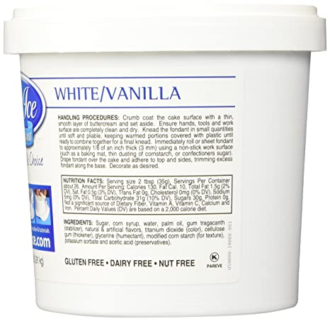 Amazon.com : Satin Ice Vanilla Fondant, White, 2 Pound : Grocery ...