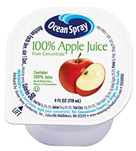 Ocean Spray 100% Apple Juice Cups, 4 Ounce (Pack of 48)