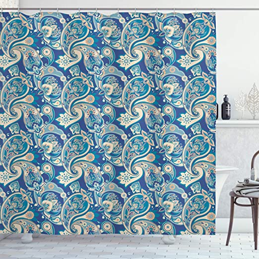 70 Long Cloth Fabric Bathroom Decor Set with Hooks Ambesonne Navy Blue Shower Curtain Circular and Floral Alike Oriental Style Patterned Design Artwork Navy Blue