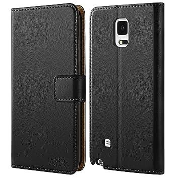 HOOMIL Funda Samsung Galaxy Note 4 Cuero Premium Carcasa para Samsung Note 4 Case (H3282, Negro)