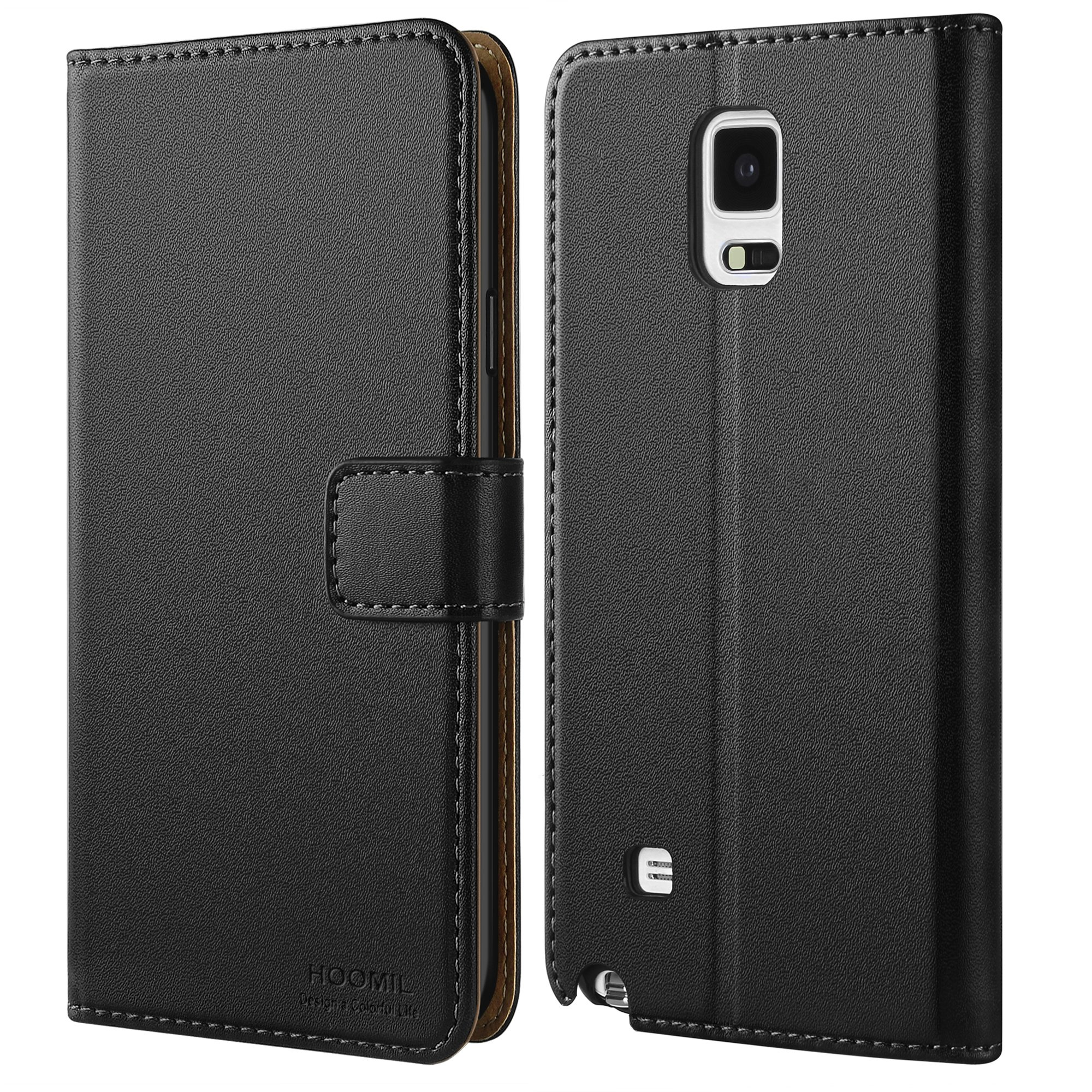 HOOMIL Galaxy Note 4 Case Premium Leather Case Samsung Galaxy Note 4 Phone Wallet Case Cover (Black)