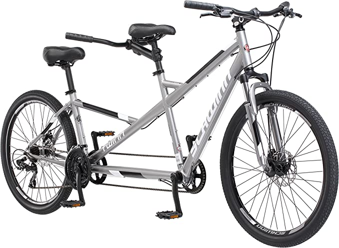 Schwinn Twinn Tandem Bicycle, Featuring Low Step-Through and Lightweight Aluminum Frame with Mechanical Disc Brakes, 26-Inch Wheels, Large Frame Size, ...
