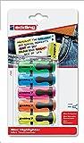edding 7 Mini Highlighter - sortiert - 5er Blisterkarte - Mini-Textmarker in 5 brillanten Neon-Farben