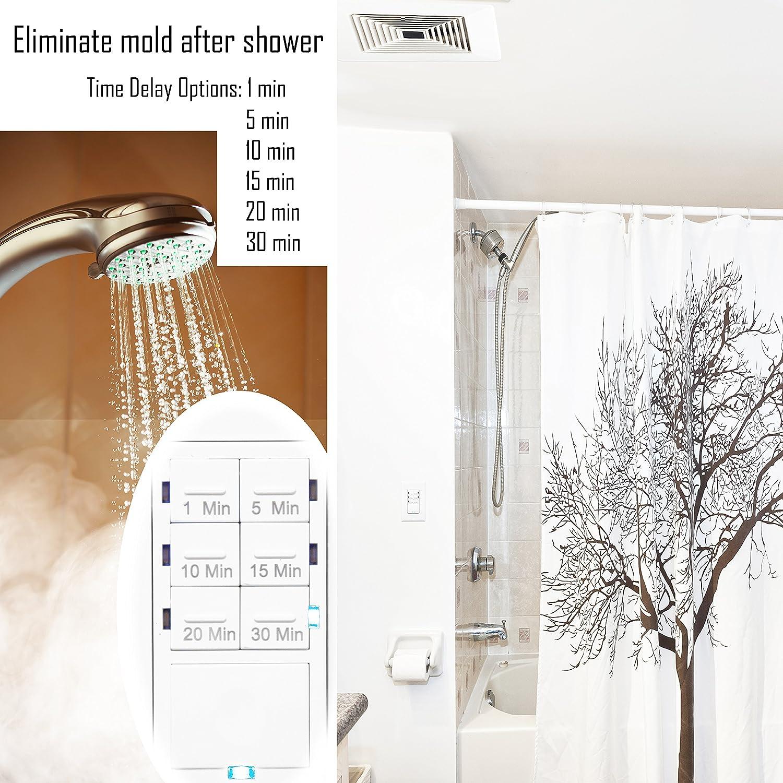 Enerlites Het06a White 1 5 10 15 20 30 Minutes Preset In Wall Fan Night Light Bathroom Wiring Diagram Free Download Countdown Timer Switch W Decorator Plate Industrial Scientific