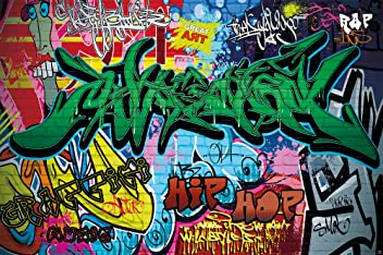 Poster Graffiti Wand Dekoration bunte Zeichen Schriftzüge Pop Art Mauer Street Style Writing Hip Hop Wallpaper Street Art wall  Wandposter Fotoposter Bild Wandgestaltung by GREAT ART (140 x 100 cm)