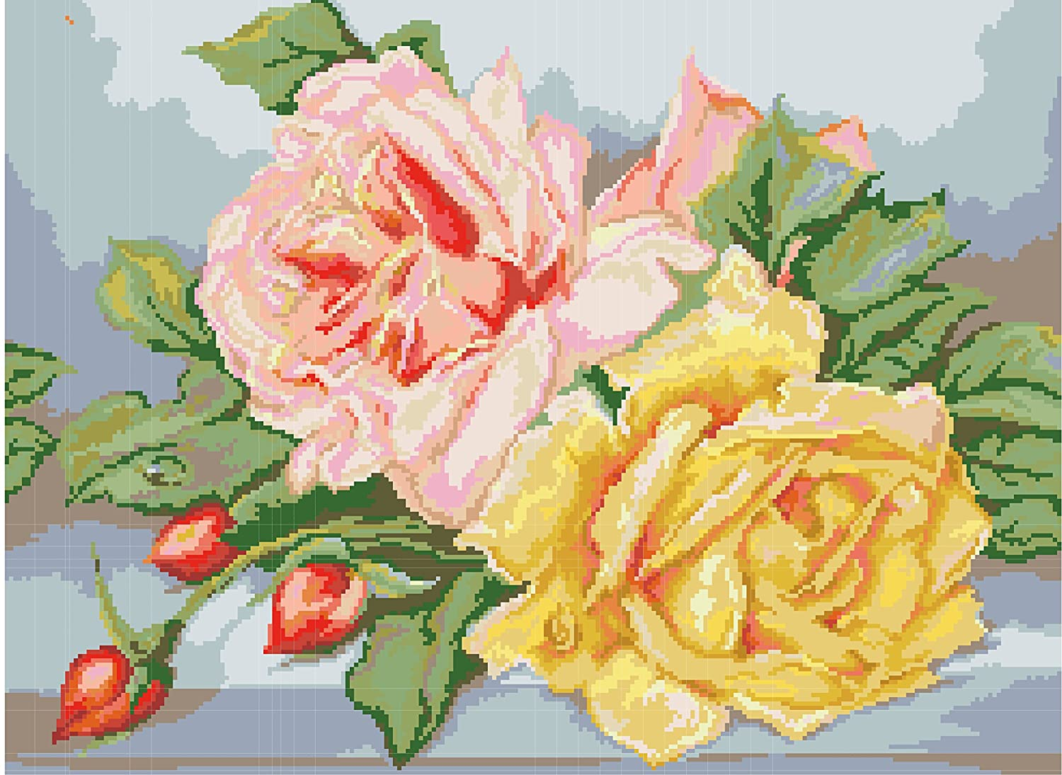 Diamond Painting-Diamant Stickerei//Malerei Diamant Bild  Die Rosen 61 x 45 cm
