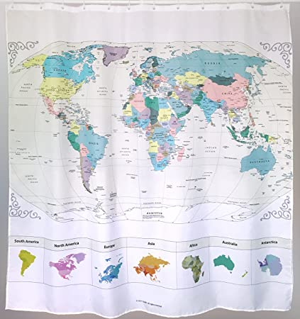 Amazon new map of the world shower curtain with detailed major map of the world shower curtain with detailed major cities pvc free gumiabroncs Images