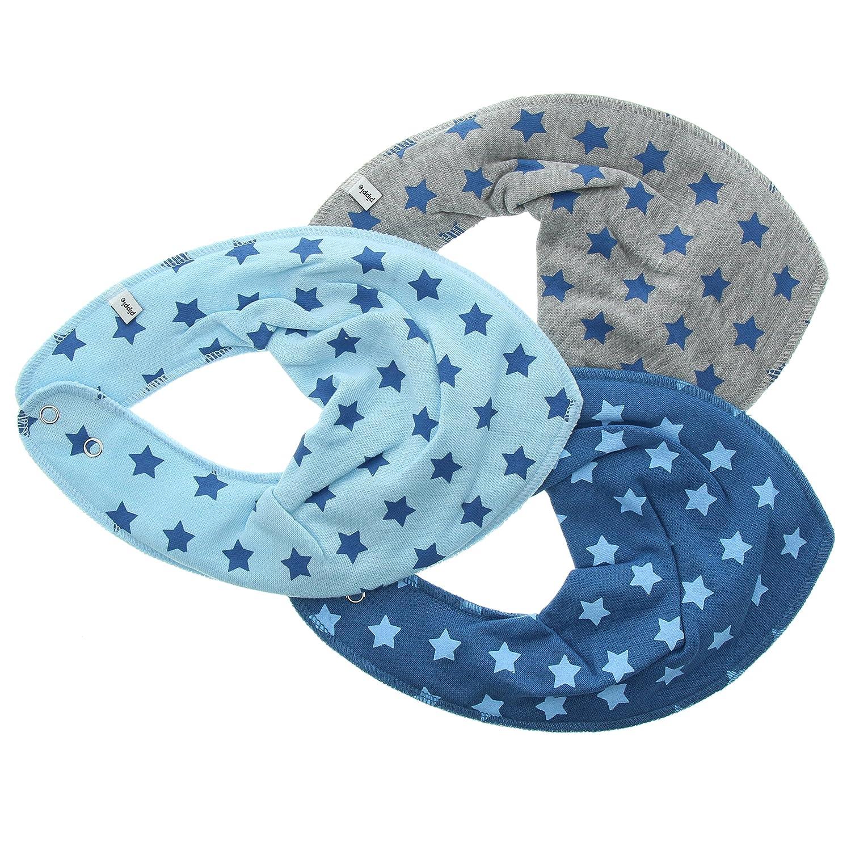 Pippi Baby - Jungen Lätzchen ao-printed 3er Pack die Hauptrolle Schal Farbe: Blau und Grau One Size 3716