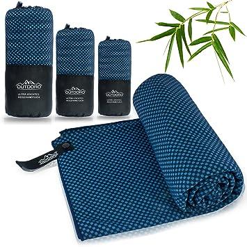 Outdoro - Toalla de viaje con carbón de bambú carbón - Ultraligera y absorbente, más