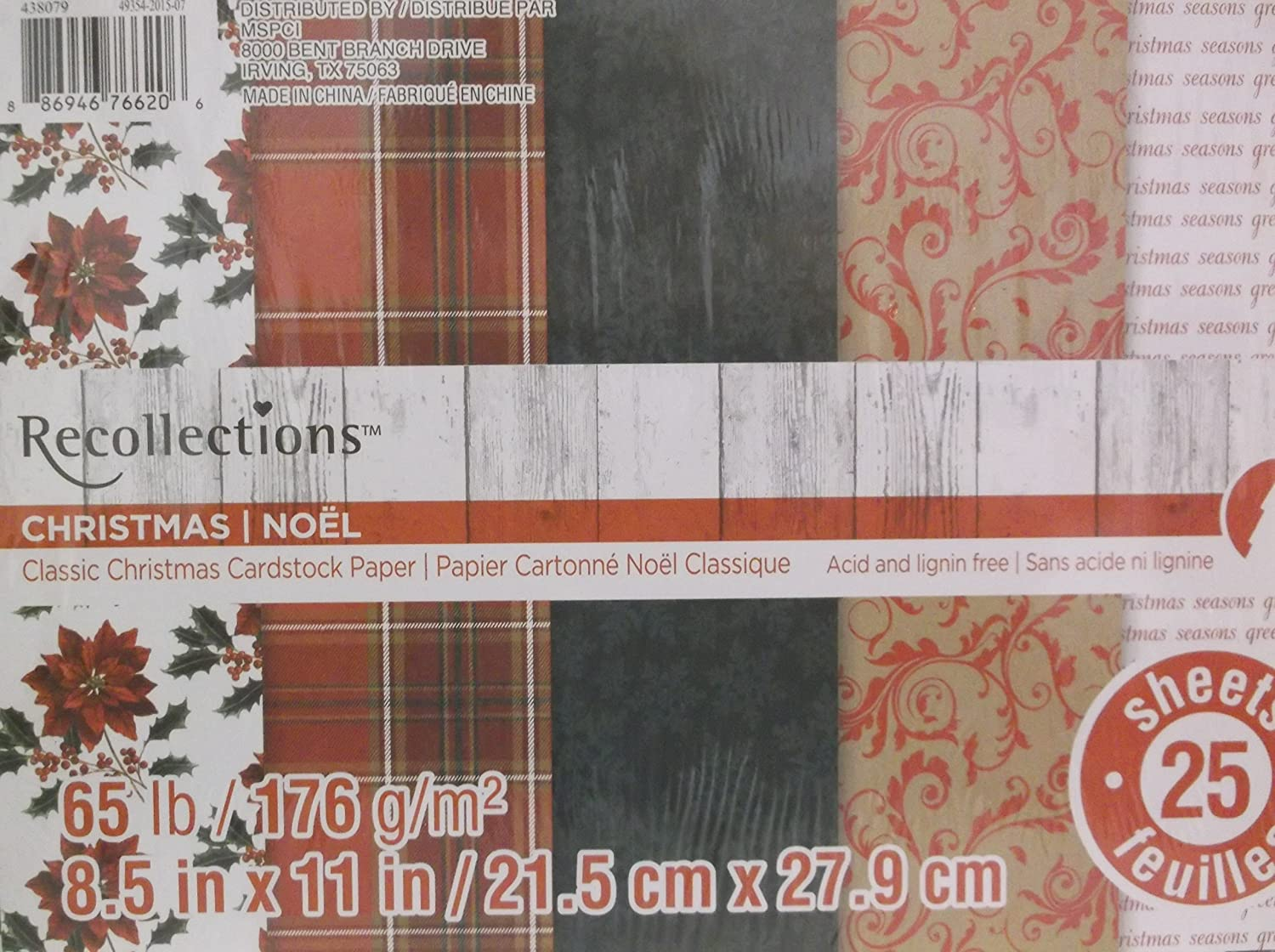 Amazon.com: Recollections *Christmas Holiday* Cardstock Paper 25 ...