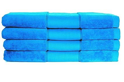 Restmor Neón Set de 4 Toallas de baño extra-grandes de 100% Algodón 450g