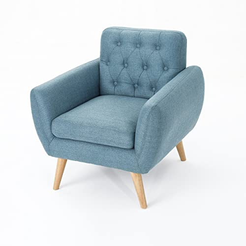 Christopher Knight Home Bernice Petite Mid Century Modern Tufted Fabric Club Chair, Blue Natural