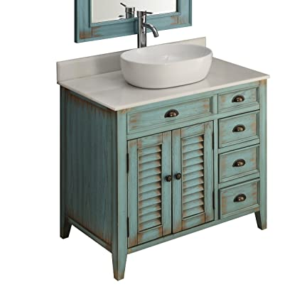 36 Benton Collection Distress Blue Abbeville Vessel Sink Bathroom