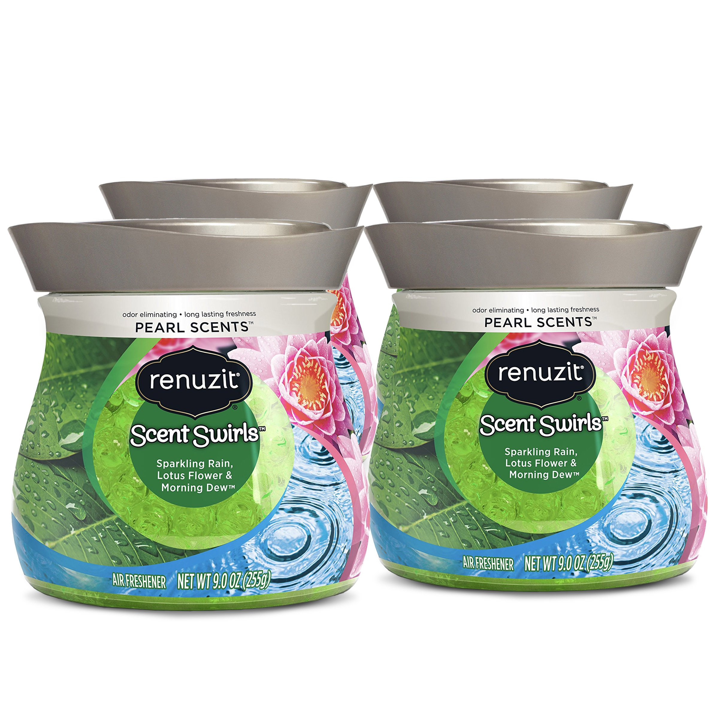 Renuzit Pearl Scents Air Freshener, Sparkling Rain, Lotus Flower & Morning Dew, 9 Ounces (4 Count) by Renuzit