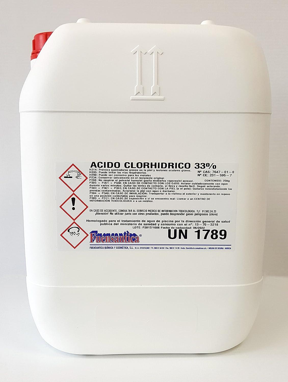 Ácido Clorhídrico 33% / Reductor Ph / Desincrustante 25 Kg.: Amazon.es: Jardín