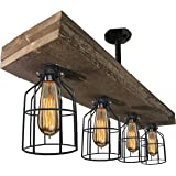 Farmhouse Lighting Triple Wood Beam Vintage Decor Chandelier Light - Great in Kitchen, Bar, Industrial, Island, Billiard, Foyer and Edison Bulb. Wooden Reclaimed Rustic Four Light With Cages
