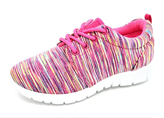 Urban Jacks Girls Childs Relay Pink Stripped Glitter Trainer Jogger Lace up  Casual Shoe Sizes e6b9354c0