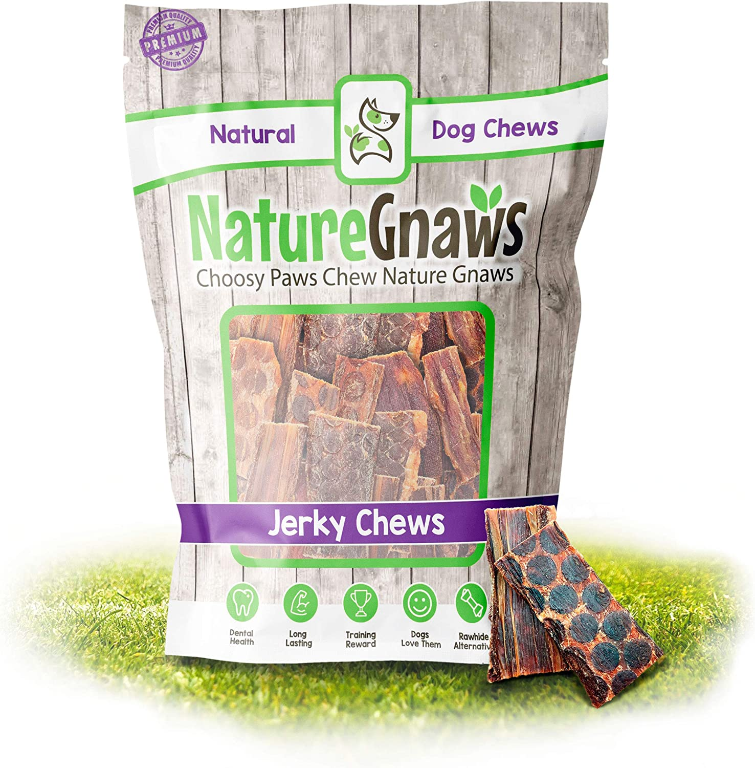 Nature Gnaws Beef Jerky Bites for Small Dogs - Premium Natural Treats - Simple Single Ingredient Tasty Dog Chews - Rawhide Free - 3-4 Inch