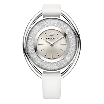 Amazon.com  Ladies  Swarovski Crystal Crystalline Oval White Leather ... 3b6334d52f