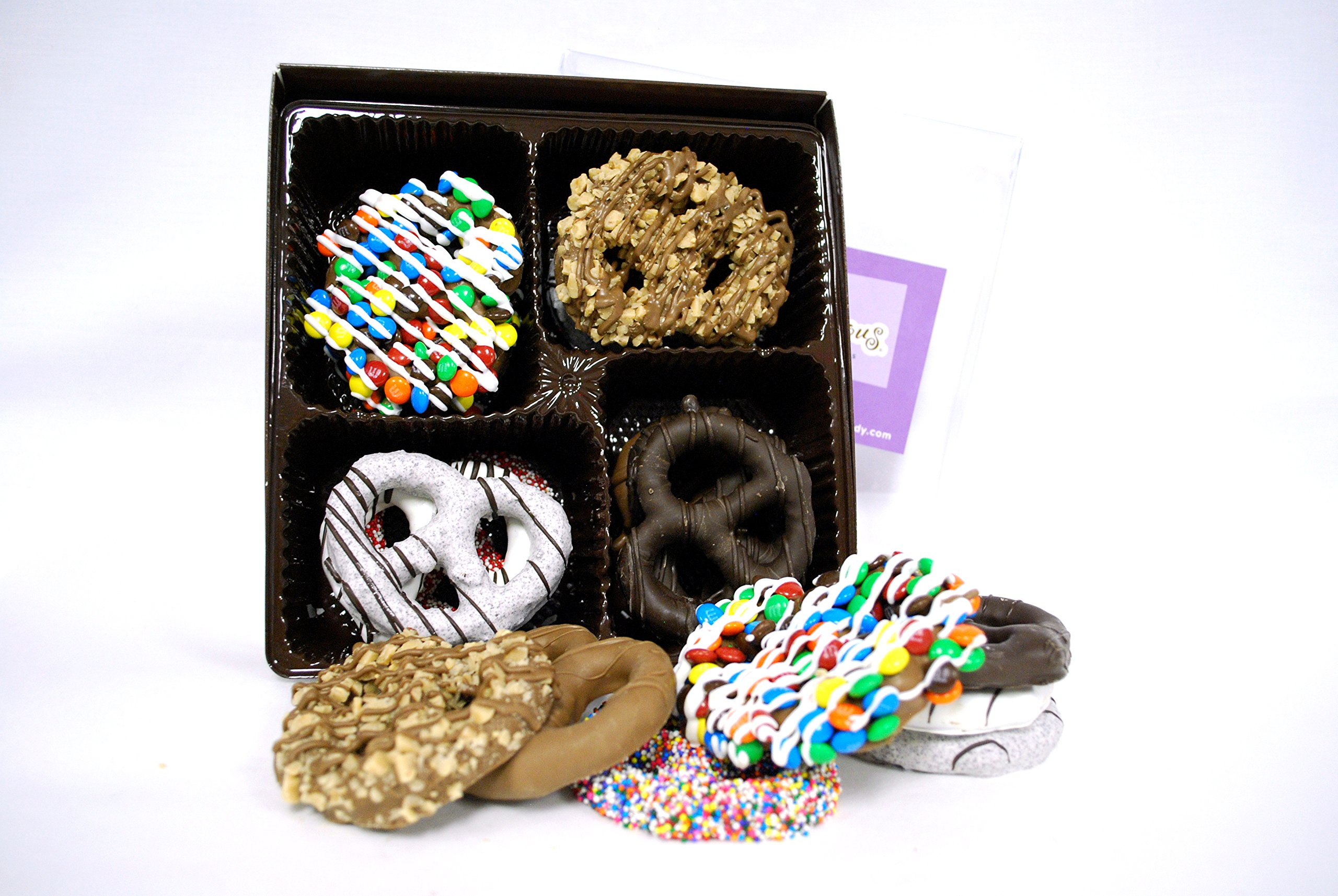 Delectable Dozen Gourmet Chocolate Covered Pretzels by All City Candy