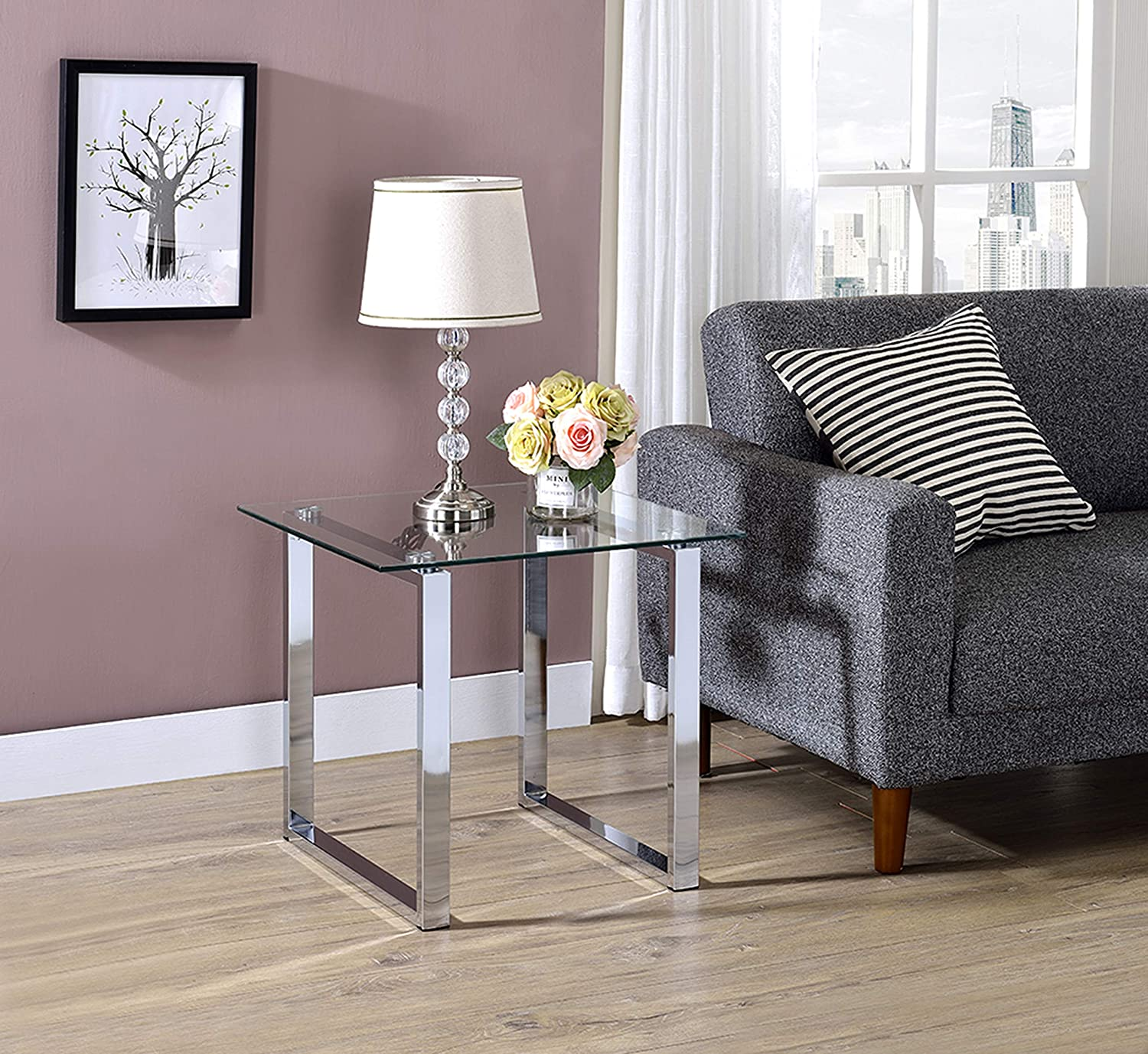 Kings Brand Chrome Finish with Glass Top End Table