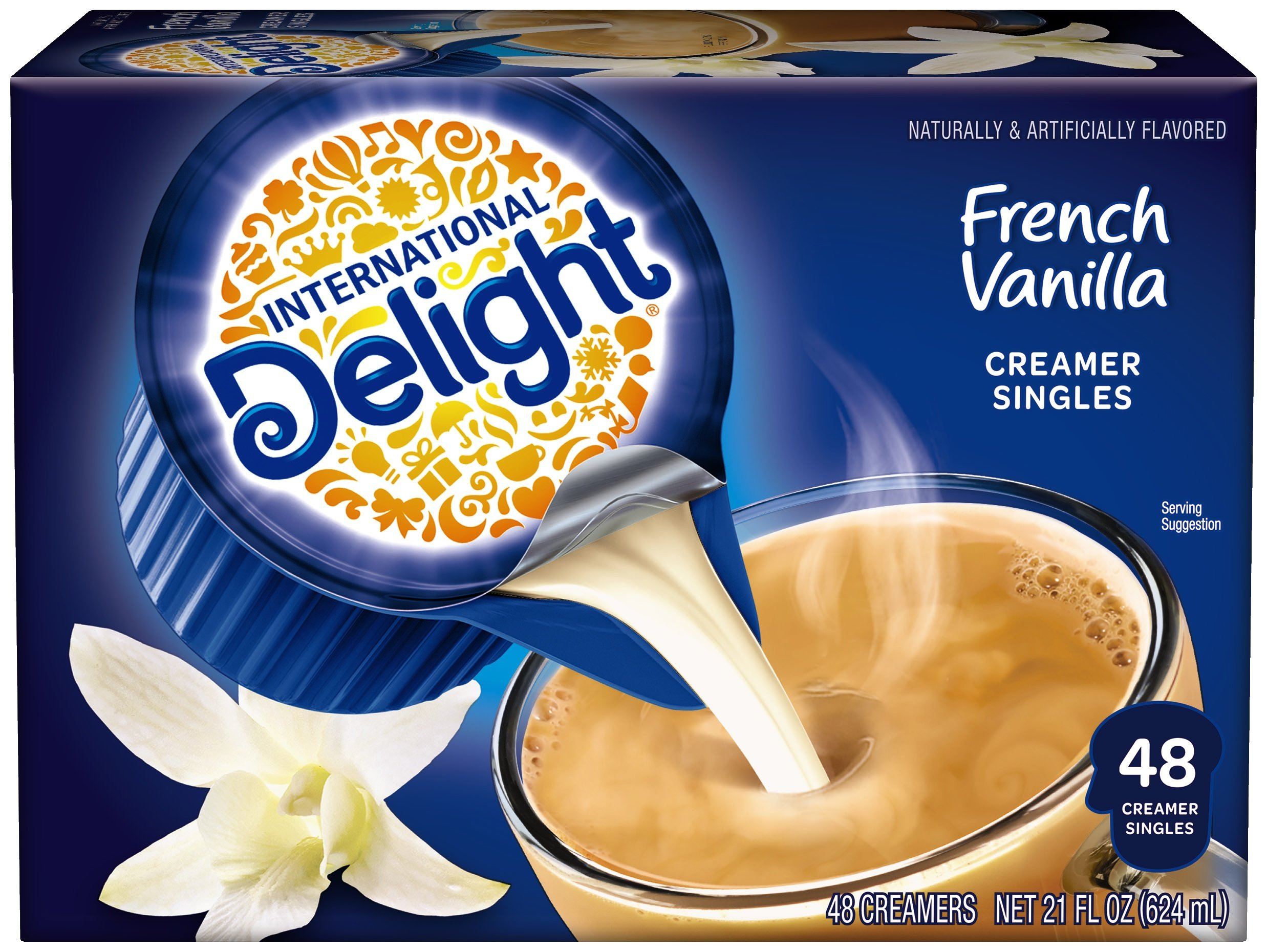 International Delight, French Vanilla, Single-Serve Coffee Creamers, 48 Count (Pack of 4), Shelf Stable Non-Dairy Flavored Coffee Creamer, Great for Home Use, Offices, Parties or Group Events
