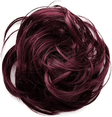 PRETTYSHOP Postizo Coletero Peinado alto, rizado, Moño descuidado,borgoña # 118 G27B
