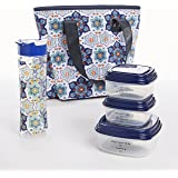 Fit & Fresh Hutchinson Lunch Bag Kit for Women with Coordinating Container Set, 20 oz. Tritan Plastic Water Bottle and Ice Pack, Blue Orange Petal Medallion