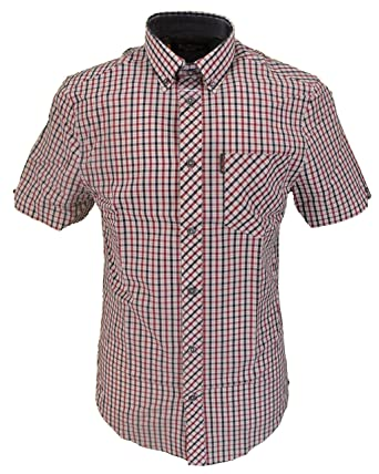 5d97d90512 Ben Sherman Mens Red Blue White Checked Check Short Sleeved Shirts   Amazon.co.uk  Clothing