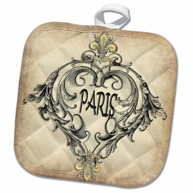 3D Rose Paris-Beige Background Pot Holder 8 x 8