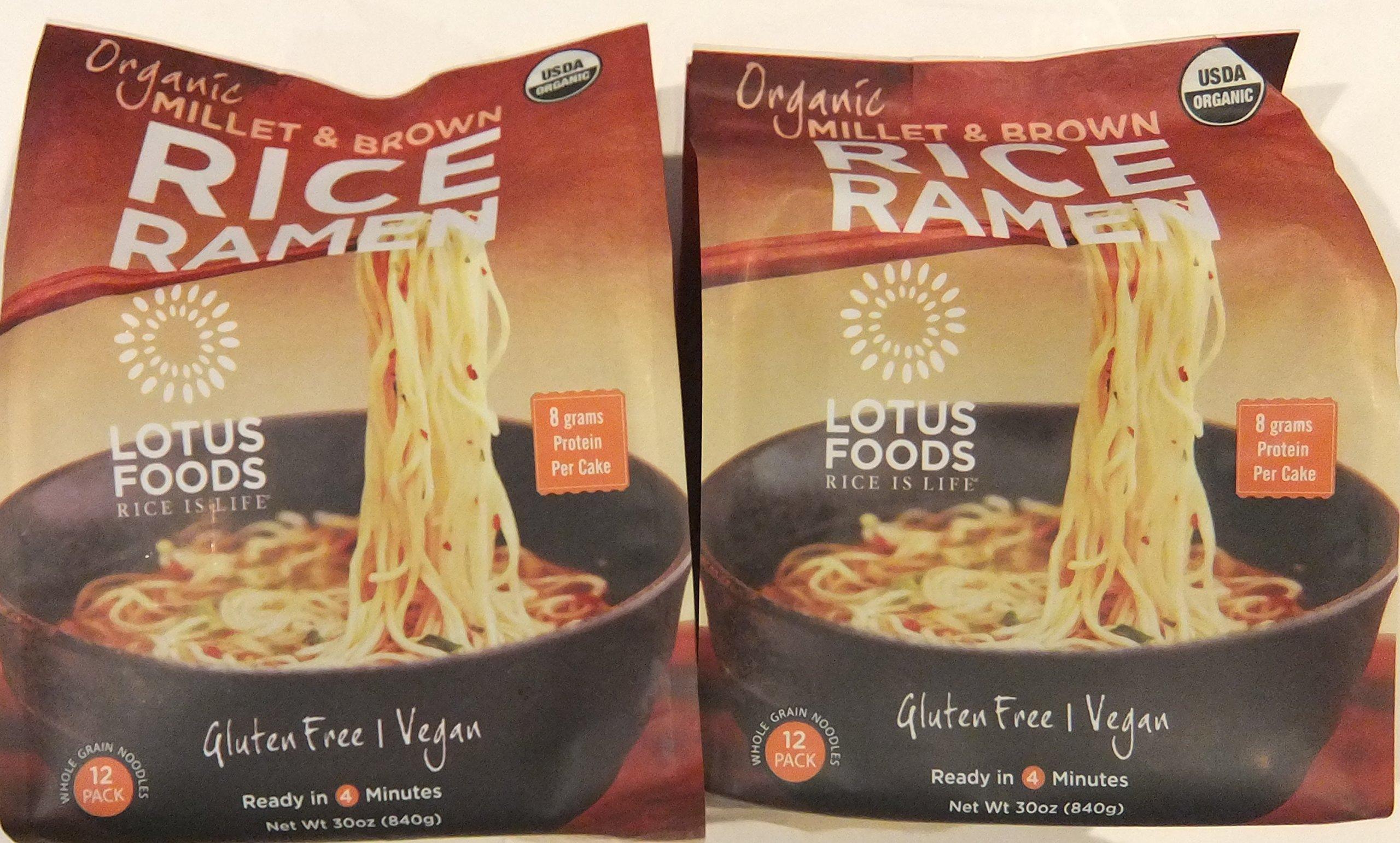 Lotus Foods Organic Millet & Brown Rice Ramen, 12 Pack (Pack of 2)