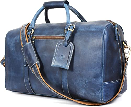 Leather Travel Duffle Bag Gym Sports Bag Airplane Luggage Carry-On Bag Gift for Father's Day By Aaron Leather Blue