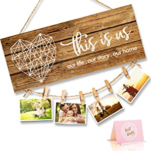 Home Decor New Home Gifts -This Is Us- Home Sign for Rustic Farmhouse Wall Living Room with Clips and Twine for Picture Hanging, Gifts for Housewarming New Homeowners